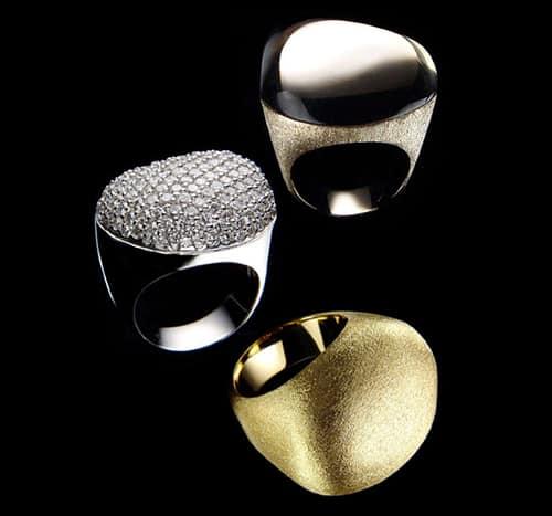 Trio Anéis Pedras Roladas