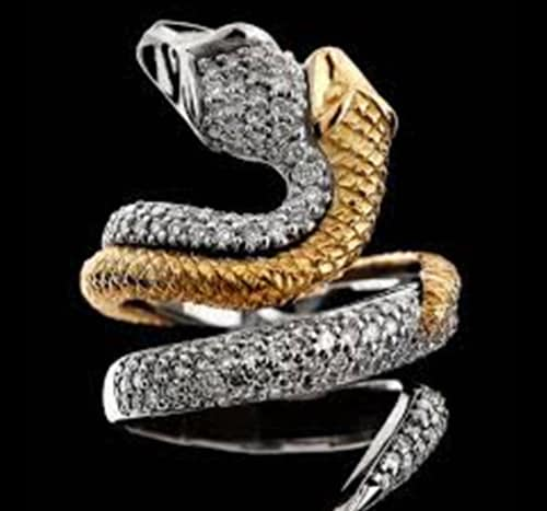 Anel Serpente, Ouro Branco e Amarelo Com Briljantes